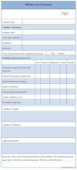 Interview Evaluation Form HR Interview Evaluation Form Pinteres 9