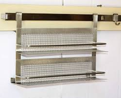 stainless steel wall mounted rack with 2 space for kitchen accessories full size