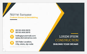 business card excel template construction worker business card templates word excel