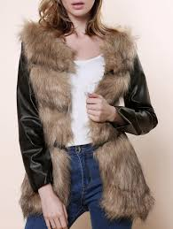 affordable stylish collarless long sleeve faux fur pu spliced women s coat