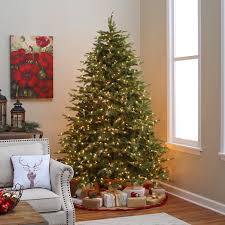 7.5 ft. Pre-lit Feel Real Nordic Spruce Hinged Christmas Tree ...