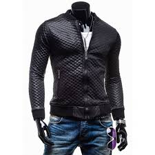 slim fit faux leather jacket men black quilted motorcycle jacket inside black leather coat for