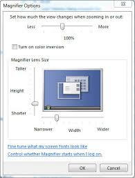 fig 7 magnifier options window in lens mode
