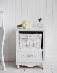 small white bedside table. Unique Table Pretty Floral English Rose White Bedisde Cabinet With Drawer And Basket For Small Bedside Table A