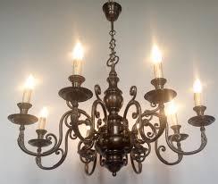 vintage antique brass 8 branch arm chandelier flemish french farmhouse light