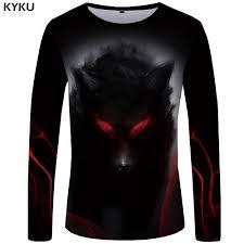 <b>KYKU</b> Brand <b>Wolf T shirt Men</b> Long sleeve shirt Eye Graphic Blood ...