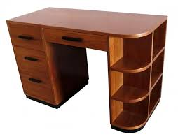 furniture brown wooden computer desk with drawers and racks enchanting art deco computer desk