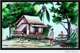 watercolor painting of village scenery