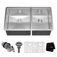 kraus undermount stainless steel 33 in 60 40 double bowl kitchen sink kit khu103 33 the home depot