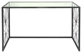 black metal console table glass top accent contemporary console tables by sagebrook home
