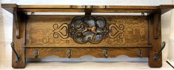 Oak Coat Racks Vintage oak coat rack with carved decoration and brass hooks Catawiki 86