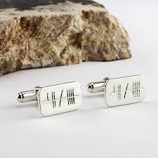sterling silver ogham cufflinks