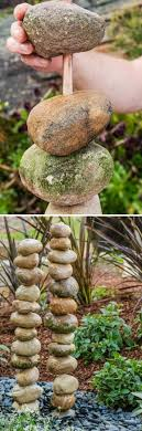 diy stacked rocks water feature