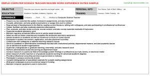 science teacher resumecomputer science teacher resume