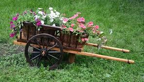 decorative garden wagon planter
