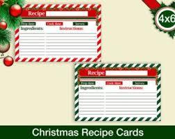 Printable Christmas Recipe Cards Christmas Recipe Cards Etsy