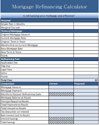 calculator refinance mortgage mortgage refinance calculator excel personal financial