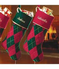 Stockings & Holders: Personalized Velvet Argyle Christmas Stockings