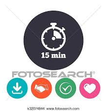 15 Min Timer Timer Sign Icon 15 Minutes Stopwatch Symbol Clipart