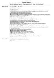 Management Analyst Resume Sample Velvet Jobs
