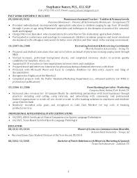 Speech Pathology Resume Examples Speech Language Pathologist Resume