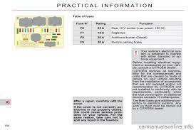 fuses citroen c5 2009 5 (rd td) 2 g owner's manual Citroen C5 Fuse Box Diagram citroen c5 2009 5 (rd td) 2 g owners manual, page citroen c5 2003 fuse box diagram