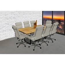 white gray solid wood office. SOLIS Castillo 11-Piece Solid Wood Conference Table Set With White Padded  Low Back Bonded White Gray Solid Wood Office T