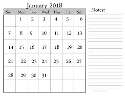 january 2018 calendar free download january 2018 calendar with notes space free fine dontrefer
