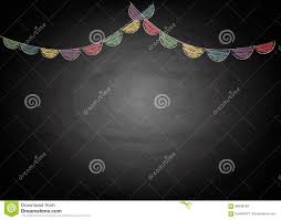 Chalkboard Background Chalkboard Background With Drawing Bunting Flags Stock Illustration