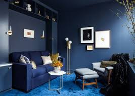 monochromatic living room blue color scheme