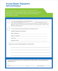 6 Sample Income Based Repayment Forms Sample Templates