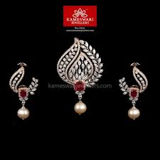 pendant set aria diamond pendant set from kameswari jewellers
