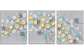 teal grey yellow wall art