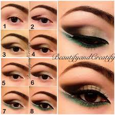 earth toned colors and a touch of green elegant makeup with pop of color tutorial