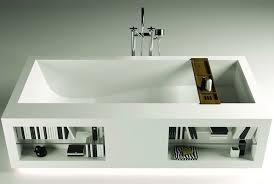 bathtubs with storage shelves