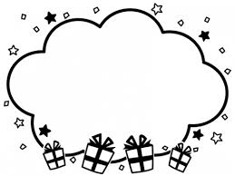 プレゼント箱と星の白黒もこもこフレーム飾り枠イラスト02 無料