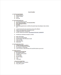 Travel Checklist Template 8 Free Word Pdf Documents Download