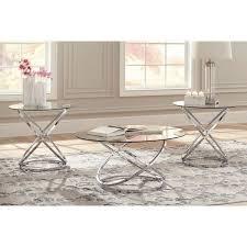 chrome glass 3 pack table set