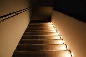 led step lights rectangular deck step accent light 12v or 120v installed in outdoor stairwell