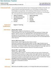 Cv For Teaching Teacher Cv Example Learnist Org