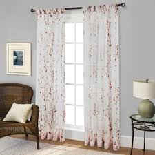 Willow Print Pinch Pleat 95-Inch Sheer Window Curtain Panel in Red
