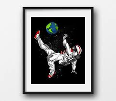 Soccer Astronaut Canvas Poster Space Planet Earth Art Print Soccer Player Gift Soccer Wall Decor Soccer Room Decor Football Poster