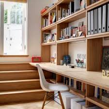 home office items. Home Studio - Contemporary Built-in Desk Light Wood Floor Home Idea  In London Office Items