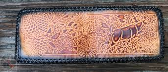 hand laced embossed leather wallet deer