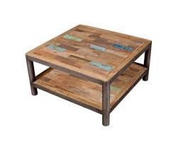 square upcycled coffee table with round iron pipe
