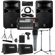 sound system. yamaha stagepas 600i portable pa system with cases, stands, and microphone image 1 sound x