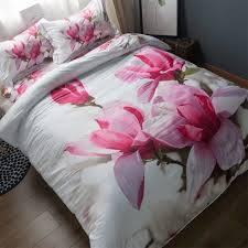 3d pink magnolia flowers bedding set queen size flat bed sheets pillowcase duvet covers 100