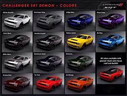 American Spirit Color Chart 2017 2018 Dodge Color Chart For The Srt Demon The 2018 Dodge