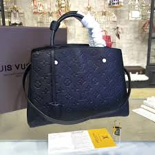 lv m41048 real leather handbag louis vuitton monogram bag montaigne black tote