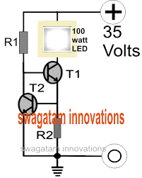 make a 100 watt led floodlight constant current driver circuit looking at the figure we can see a couple of transistors are coupled together such that the base of the upper transistor t1 becomes the collector load of